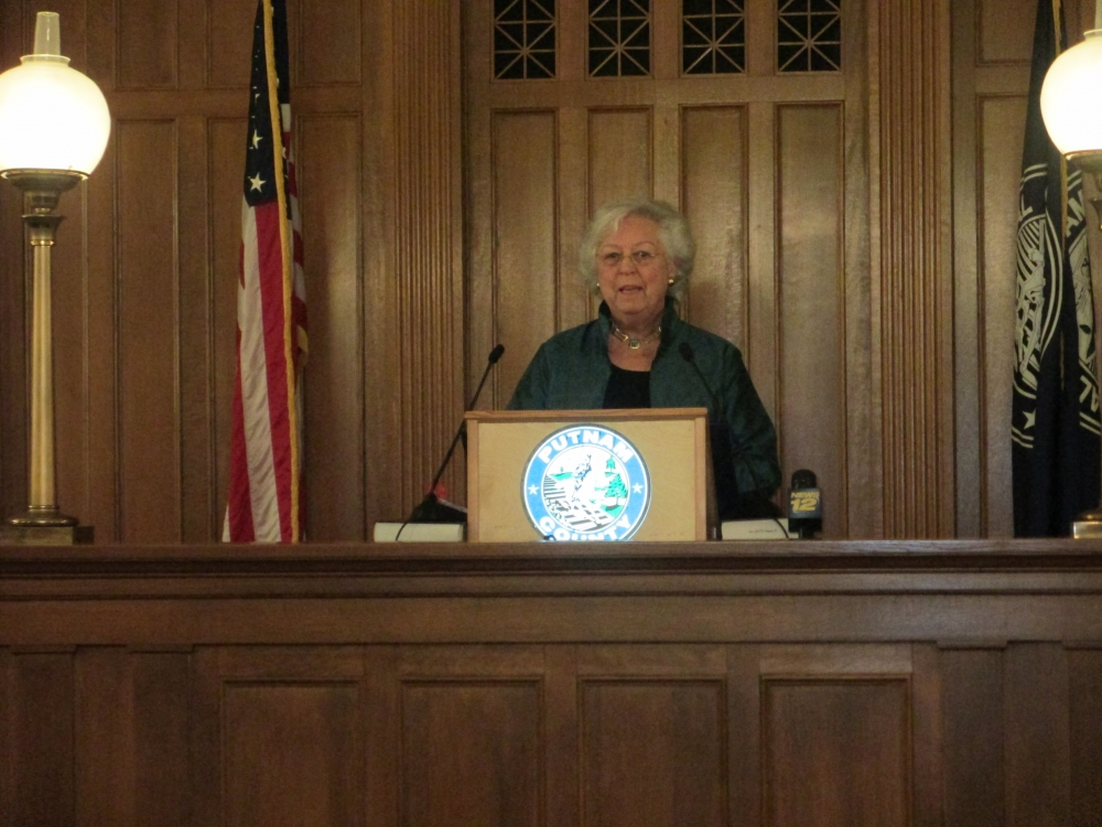 Sandy gives an address at the Putnam County Swearing-In Ceremony in January, 2015.<br />&nbsp;