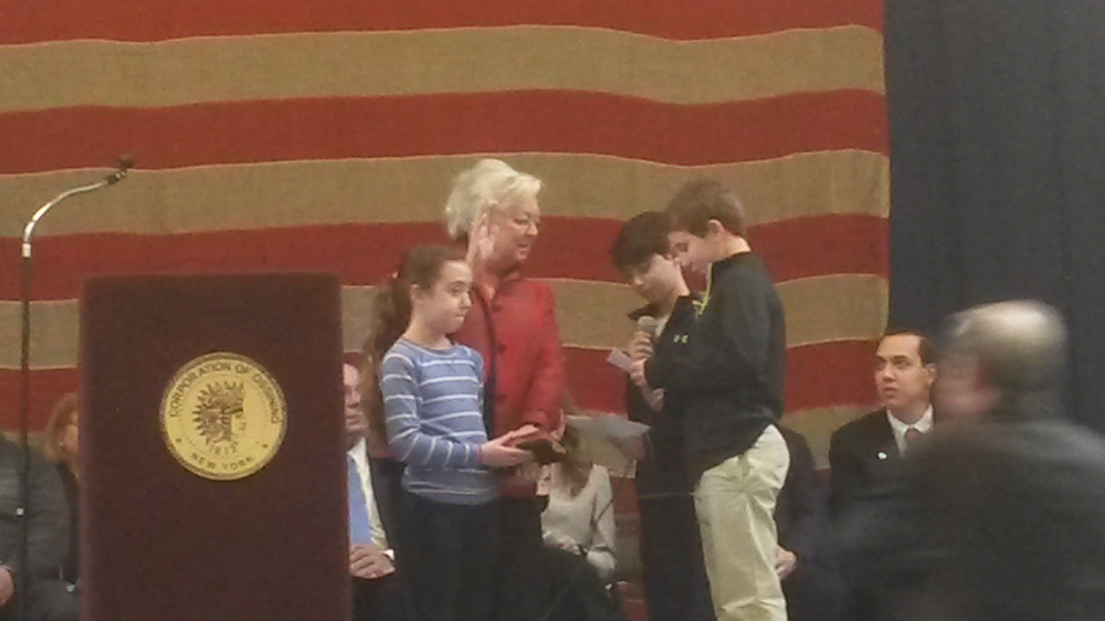 In 2015, Sandy was sworn in by her grandchildren in Ossining.<br />&nbsp;