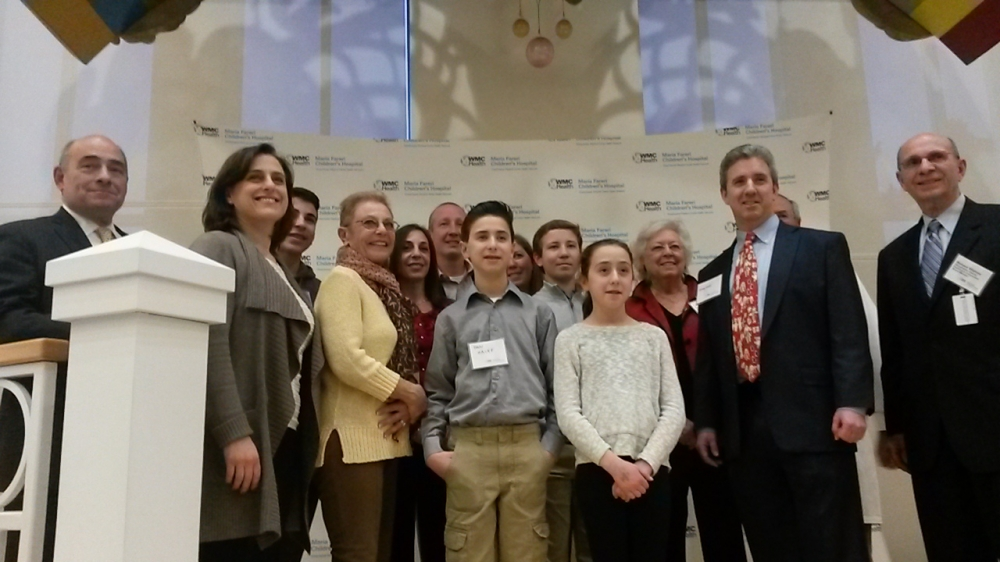 Sandy with her family at the Ribbon Cutting of the Westchester Medical Center's Steven A. Galef Lobby, named for her late husband.<br />&nbsp;