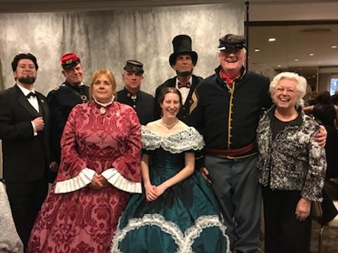 Sandy meeting with re-enactors from the Lincoln Society. She received the 2018 Champion of History Award.<br />&nbsp;