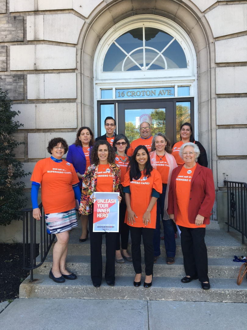 Sandy is pictured with Ossining Town, Village, and Westchester County officials, at a press conference to promote organ donation registration within the community.<br />&nbsp;