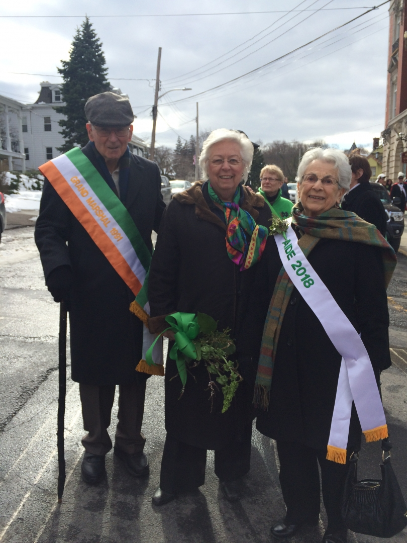 Sandy at the Peekskill St. Patrick's Day parade with Pat Garvey and Fran Gibbs.