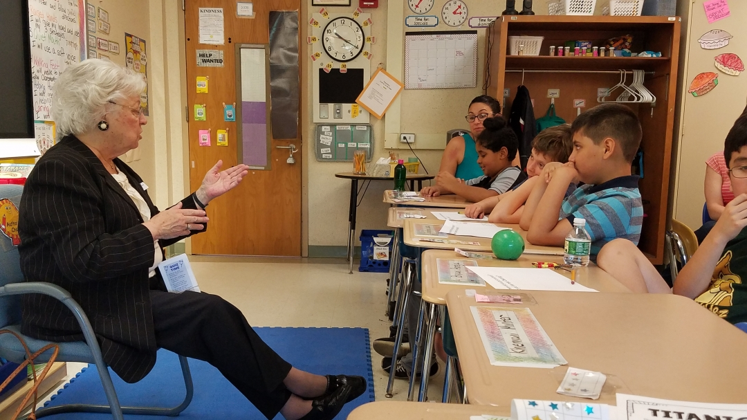 Sandy visited elementary students in their classroom to talk about how the government works, and how a bill becomes a law.<br />&nbsp;