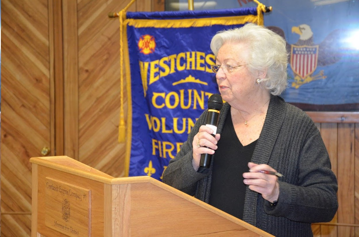 Sandy giving a speech at the Westchester County Volunteer Fire Department Association.