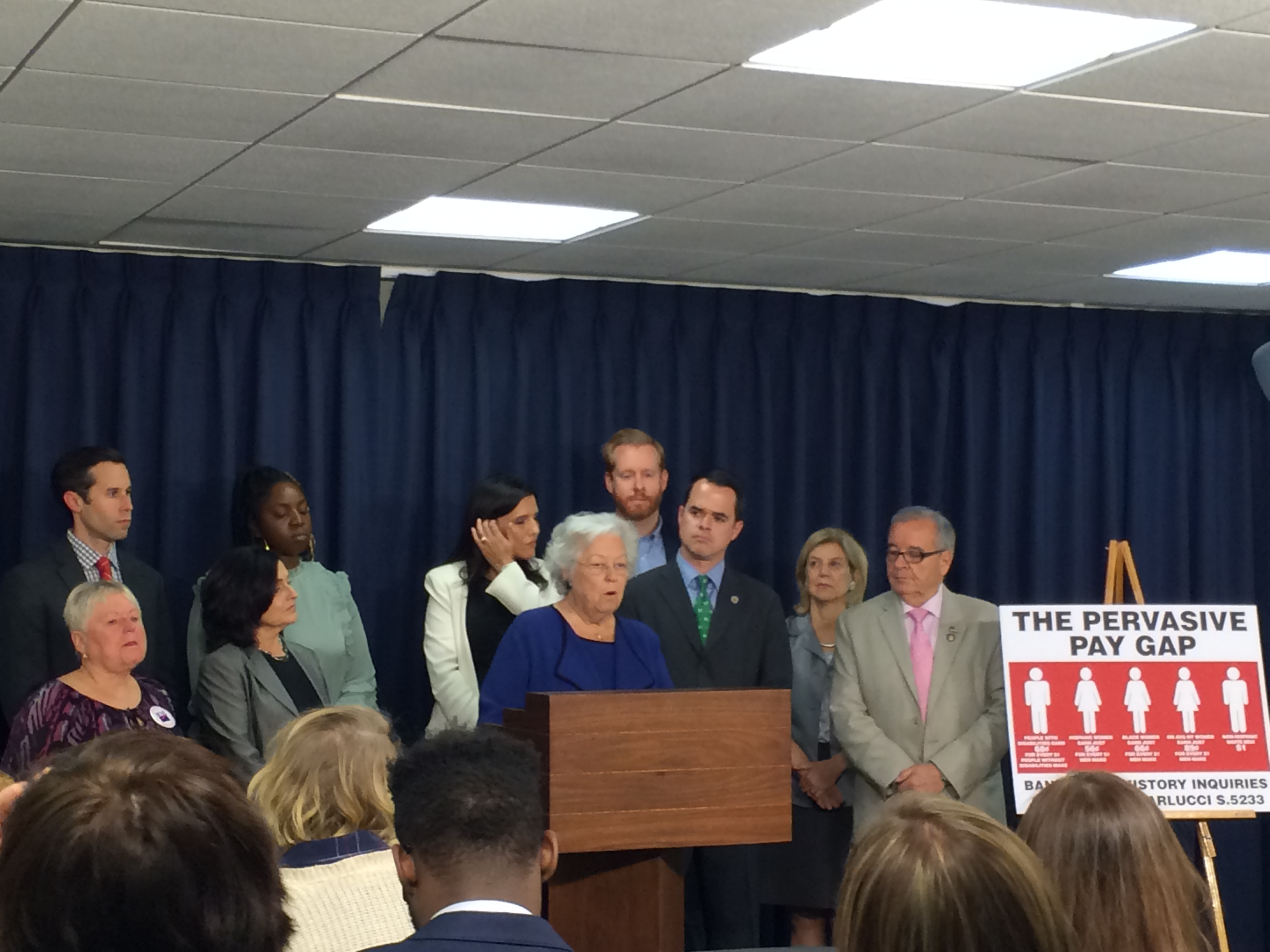 At a press conference, Sandy spoke to promote her bill to ban the question of salary history.