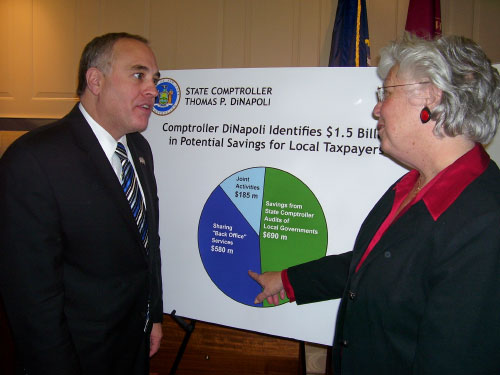 Sandy and Comptroller Tom DiNapoli discuss saving through shared services.