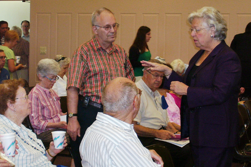 Every summer Sandy holds a forum in her district for all of her senior citizen constituents about a different topic of interest.