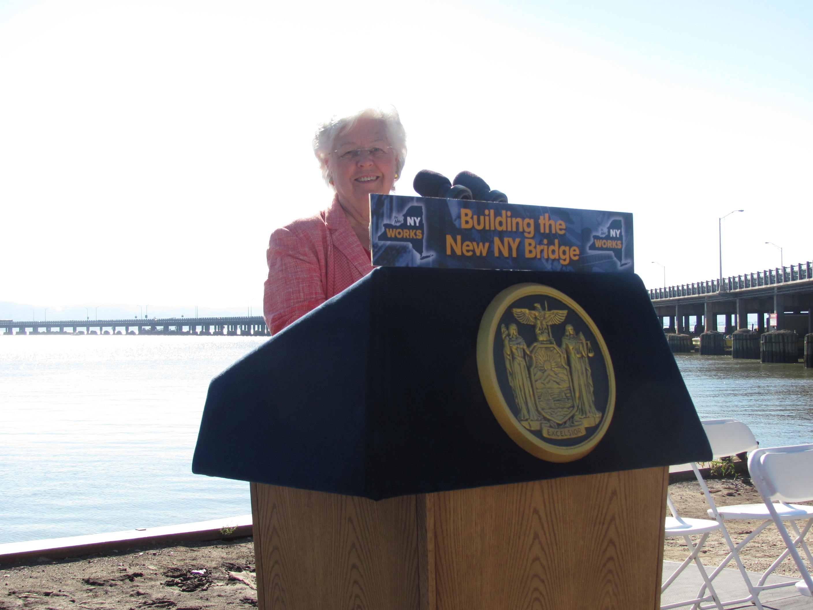 Sandy appears at a press conference celebrating the plans to rebuild the Tappan Zee Bridge.