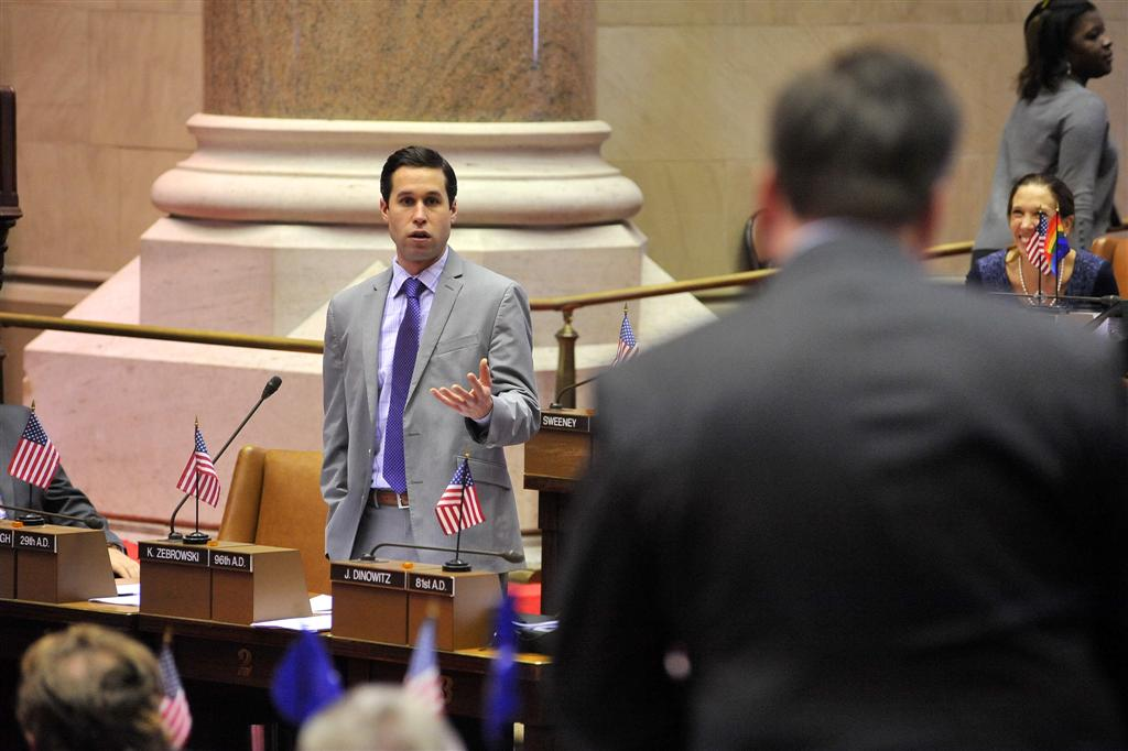 Assemblyman Zebrowski debates his devocalization bill on the Assembly floor.