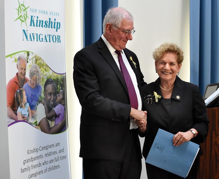 Assemblywoman Jaffee and Kinship President Gerry Wallace at Kinship awards lunch
