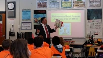 Assemblyman Karl Brabenec (R,C,I-Deerpark) celebrated Dr. Seuss' birthday by reading to students at Anna S. Kuhl School in Port Jervis and Hamilton Bicentennial School in Cuddebackville.