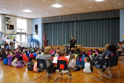 Assemblyman Karl Brabenec addresses students at North Main Street Elementary School in Monroe.