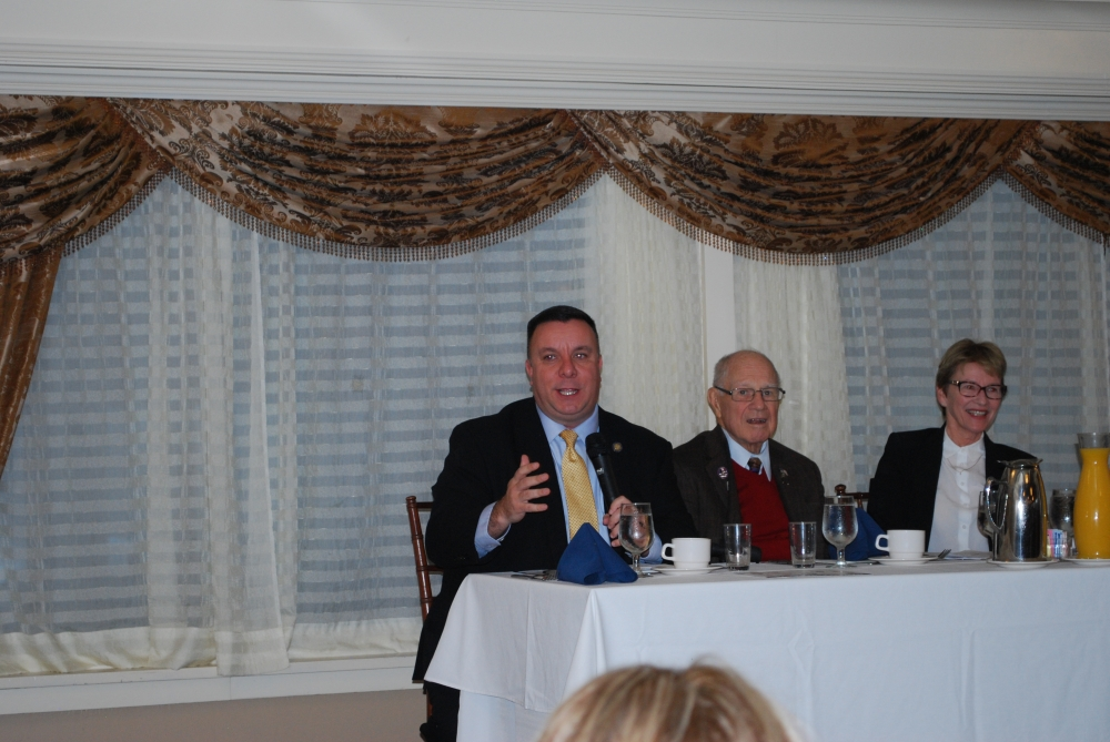 Assemblyman Karl Brabenec (R,TCN-Deerpark) [pictured left] speaks at the annual Orange County Chamber of Commerce Breakfast on Thursday<br />