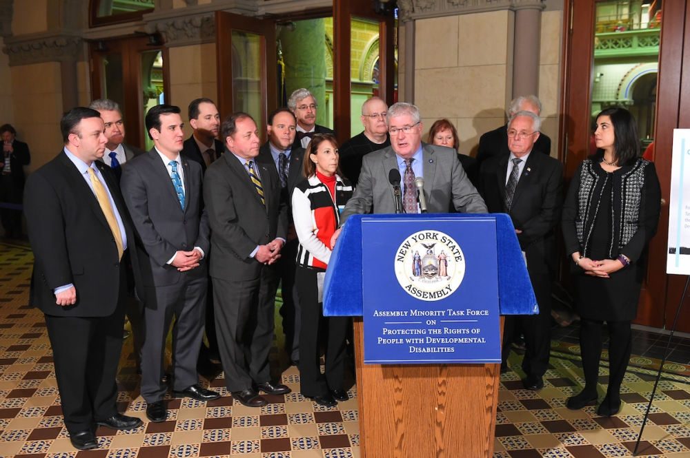 Assemblyman Karl Brabenec (R,TCN-Deerpark) [far left] joined legislators this morning in Albany to introduce the Assembly Minority C.A.R.E.S. Plan to aid the developmentally disabled community<br />