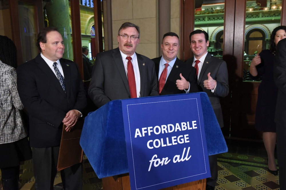 Assemblyman Karl Brabenec (R,TCN-Deerpark) [center at podium] joins Assembly Minority Colleagues to introduce the 'Affordable College for All Initiative'<br />