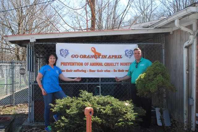 Assemblyman Karl Brabenec (R,TCN-Deerpark) [right] poses with Humane Society President, Suzyn Barron, bringing awareness to prevent animal cruelty at the Warwick Valley Humane Society.<br />&nbsp;