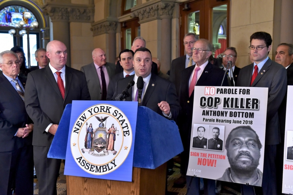 Assemblyman Karl Brabenec (R,TCN-Deerpark) speaks during a press conference today in Albany to prevent cop-killer Anthony Bottom from gaining parole
