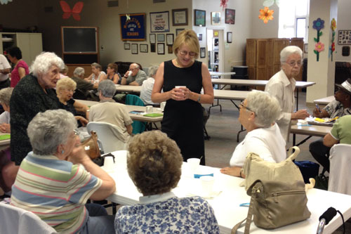 "Aileen speaking with seniors at the Middletown Senior Center as part of her ""Senior Tour""."