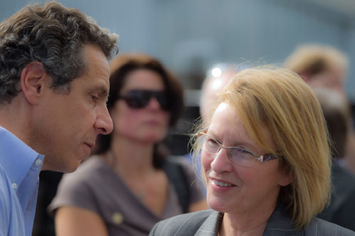 Aileen with Governor Cuomo in Orange County to discuss damage done by Tropical Storm Irene.