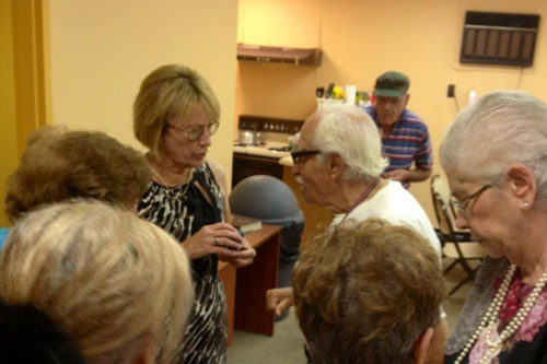 "Aileen meets with seniors in South Fallsburg as part of her ""Senior Tour."""