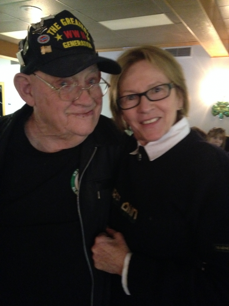 Aileen with World War II Veteran, Hughie O'Neil, at the American Legion Saint Patrick's Day Celebration.