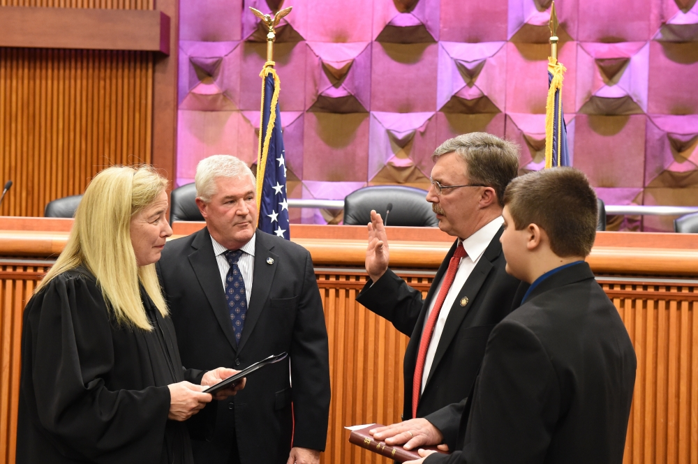 Honorable Ann Crowell, New York Supreme Court Justice, 4th Judicial District; Assembly Minority Leader Brian M. Kolb (R,C,I,Ref-Canandaigua); Assemblyman Brian Miller (R,I-New Hartford) and Nicholas Miller.<br />