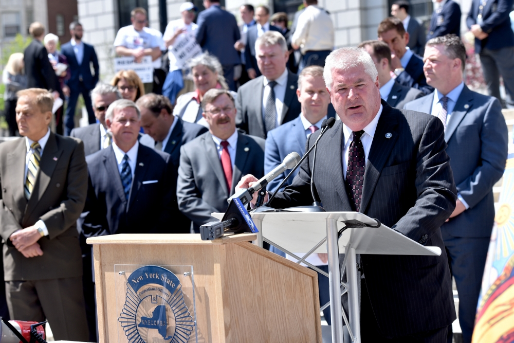 Assemblyman Brian Miller recently attended a New York State Correctional Officers & Police Benevolent Association Rally in Albany to show his support.<br />