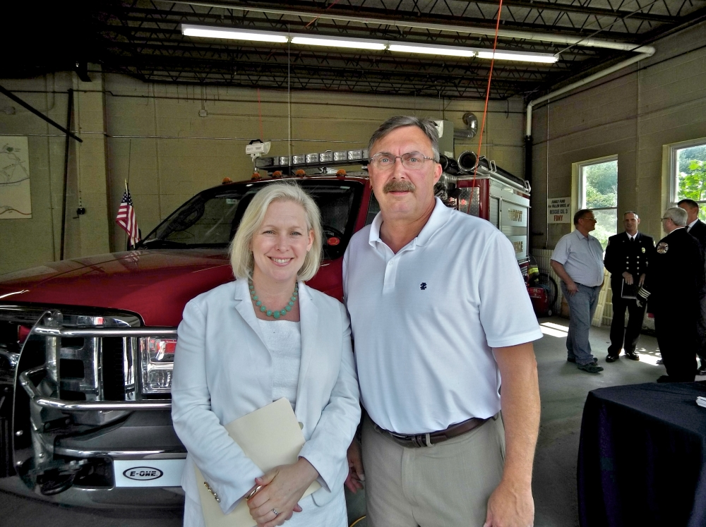 Assemblyman Miller and U.S. Sen. Kirsten Gillibrand at the Davenport Fire Department where federal funding for training, equipment and increased staffing was announced.