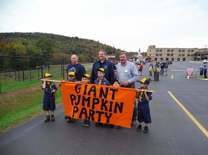 Assemblyman Brian Miller with local cub scouts prior to the start of the Giant Pumpkin Party parade.