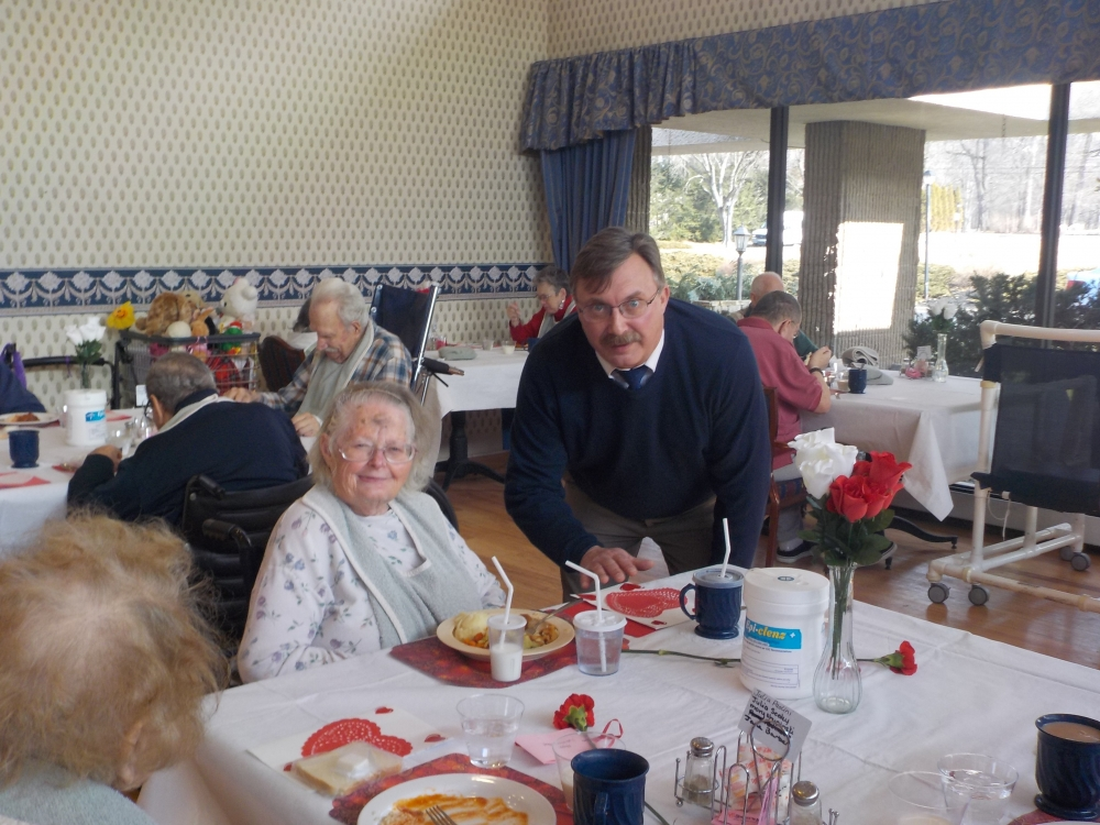 (Right) Assemblyman Miller delivers Valentines to seniors at Montgomery Nursing and Rehabilitation Center.