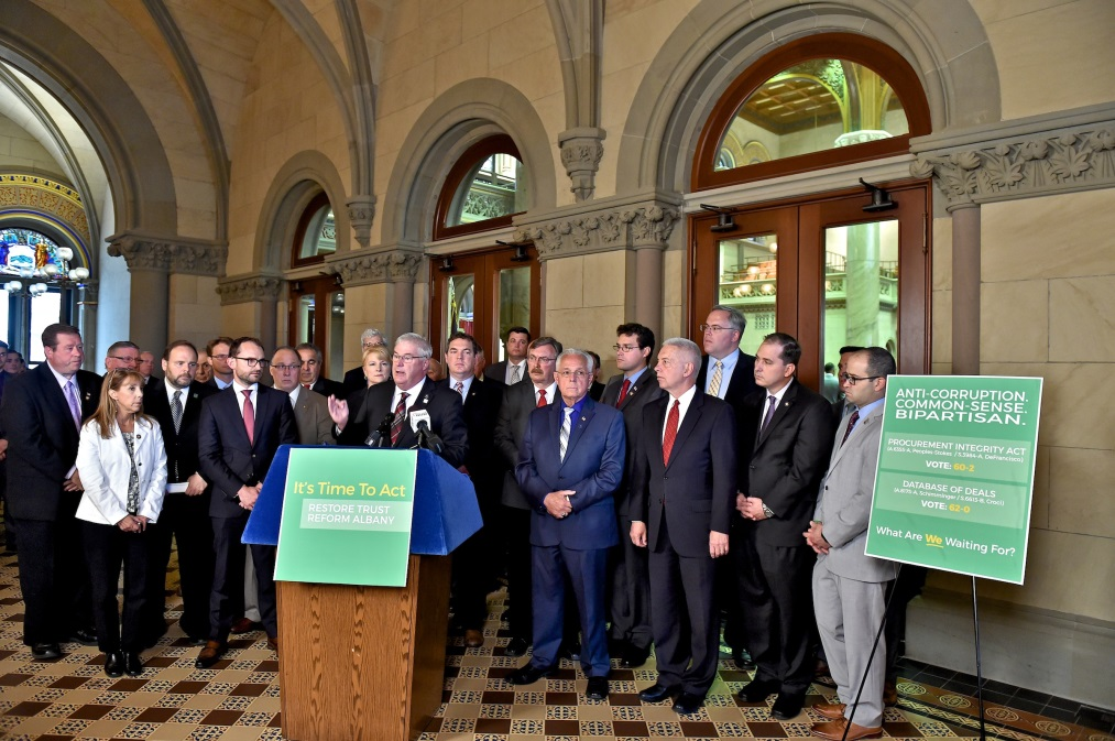 Assemblyman Chris Tague (R,C,I,Ref-Schoharie) joins with members of Assembly Minority Conference to call for economic development reform on Wednesday June 13th.