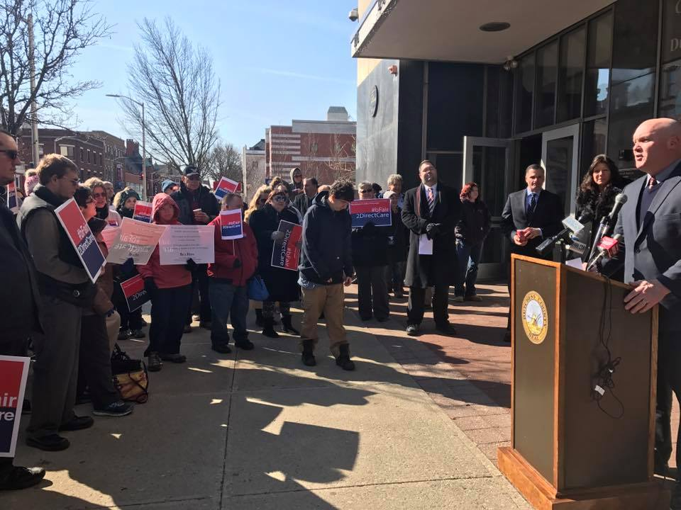 Assemblyman Kieran Michael Lalor joins Dutchess County Executive Marcus Molinaro and Senator Sue Serino at a press conference on Monday to speak about higher pay for direct care workers.<br />