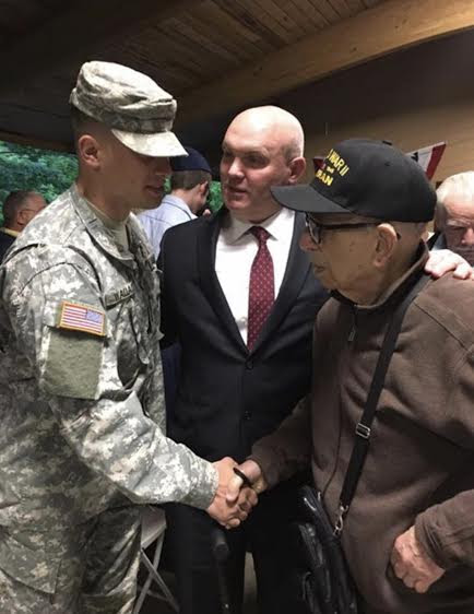 (left to right) Marist ROTC cadet David Wallace, Assemblyman Lalor, WWII veteran Joseph Vignola of Hopewell Junction<br /> <br />