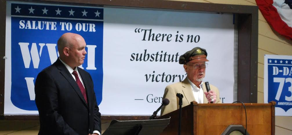 (left to right) Assemblyman Lalor and D-Day veteran Carl Alexanderson of Wingdale <br /> <br />