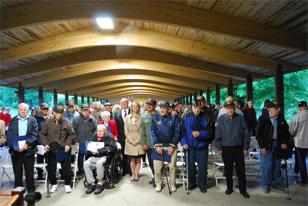 World War II vets, Lalor and guest speakers after the Salute to WWII Vets / D-Day 73rd Anniversary Ceremony.<br /> <br />