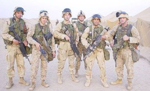 2nd Platoon, 2nd Squad ready to cross the Line of Departure into Iraq in 2003: (left-right) LCPL Gardner, LCPL Kaplan, CPL Foley, LCPL Northshield, CPL Ortiz, LCPL Lalor