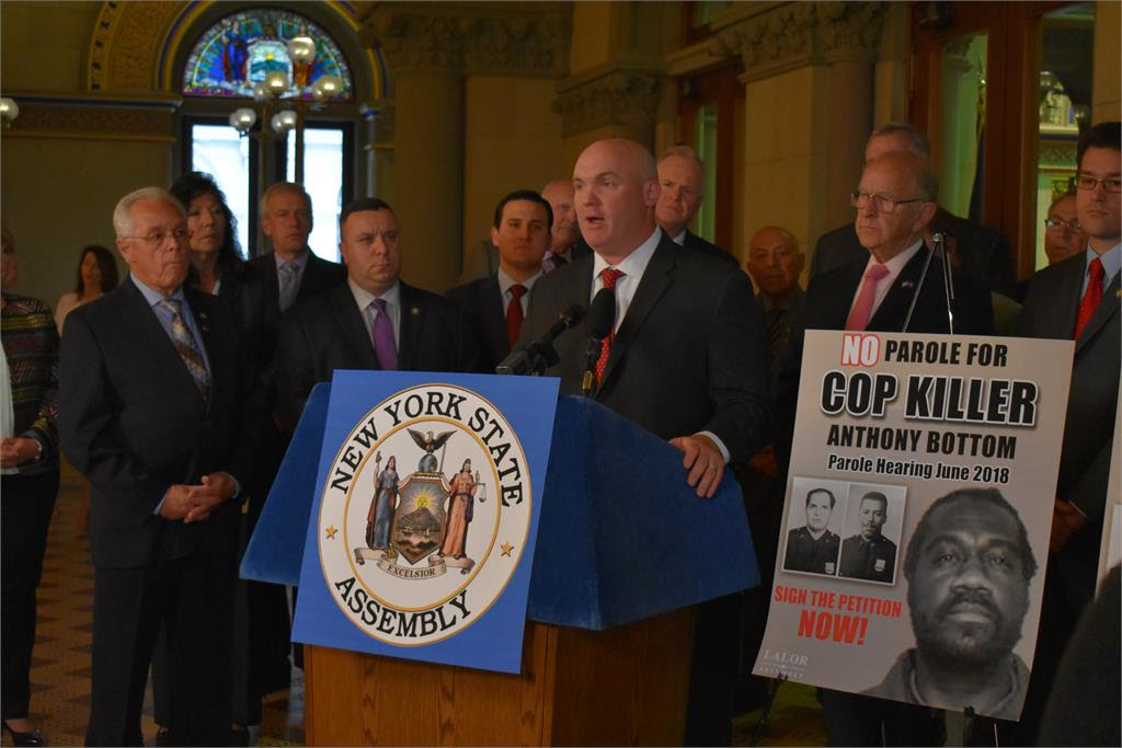Assemblyman Kieran Michael Lalor (R,C,I-East Fishkill) was joined by a coalition of state lawmakers today at a press conference launching a public petition calling on the state to deny parole to cop k