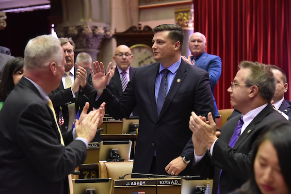 Assemblyman Jake Ashby being introduced on the Assembly floor.
