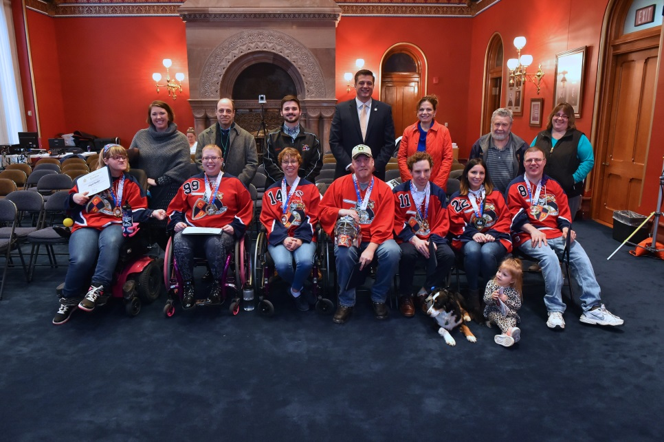 Assemblyman Jake Ashby (R,C,I,Ref-Castleton) welcomed STRIDE Adaptive Sport's Capital District Sled Warriors sled hockey team on February 11 following their gold medal win in the recent Empire St