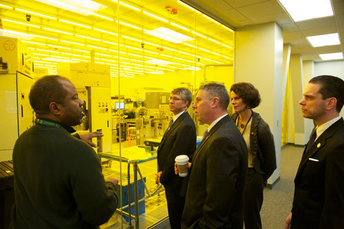 Assemblymembers John McDonald, Patricia Fahy, Angelo Santabarbara and Phillip Steck tour the facilities at the College of Nanoscale Science & Engineering.