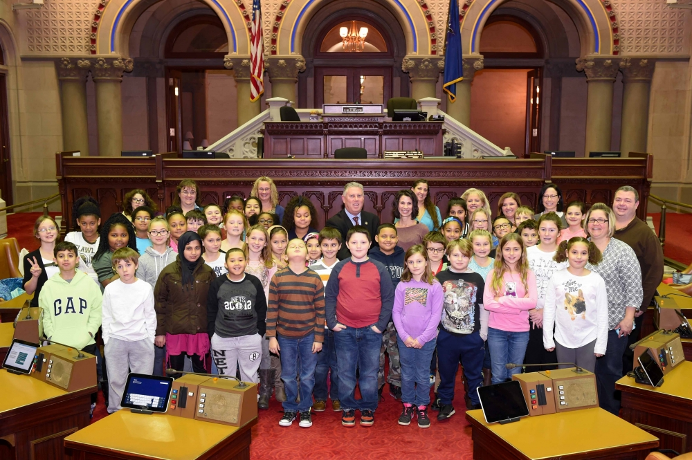 Assemblymember McDonald hosts a 3rd grade class from Watervliet Elementary School in the NYS Assembly Chamber.