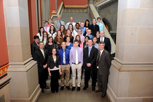 Assemblymember Phil Steck meets with students from Watervliet High School with Assemblymember John McDonald at the New York State Capitol