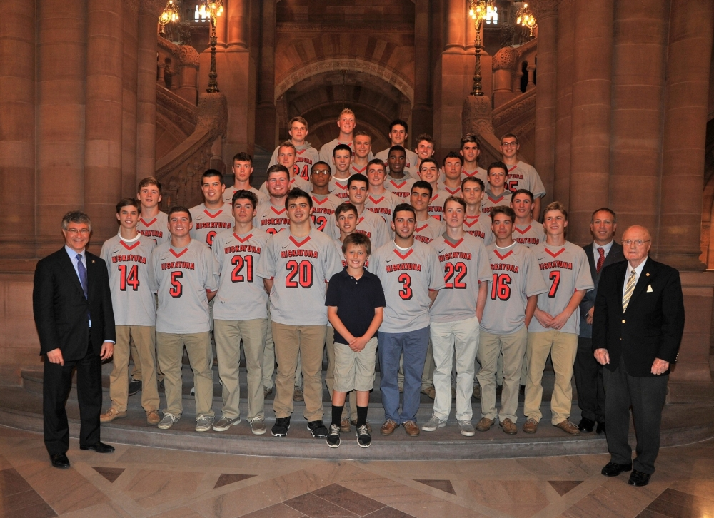 Assemblymember Phil Steck honored the Niskayuna High School Boy's Lacrosse Team with a resolution in the Assembly for capturing the 2015 New York State Class A Championship. K720