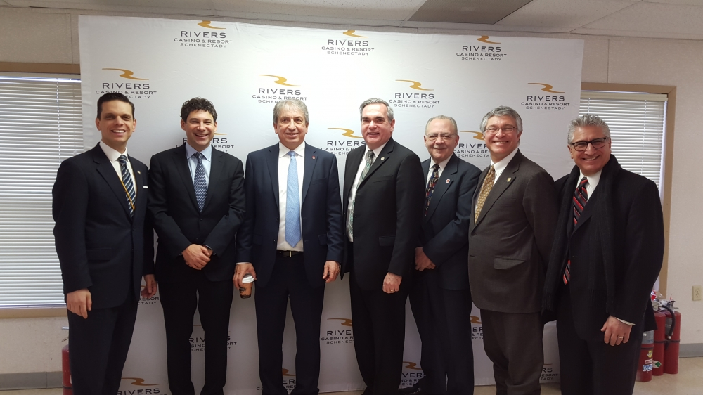Assemblyman Phil Steck joins Assemblymembers Angelo Santabarbara and James Tedisco, Gary McCarthy, Mayor of Schenectady, Anthony Jasenski, Sr. Chair of Schenectady County Legislature, Greg Carlin, Chi