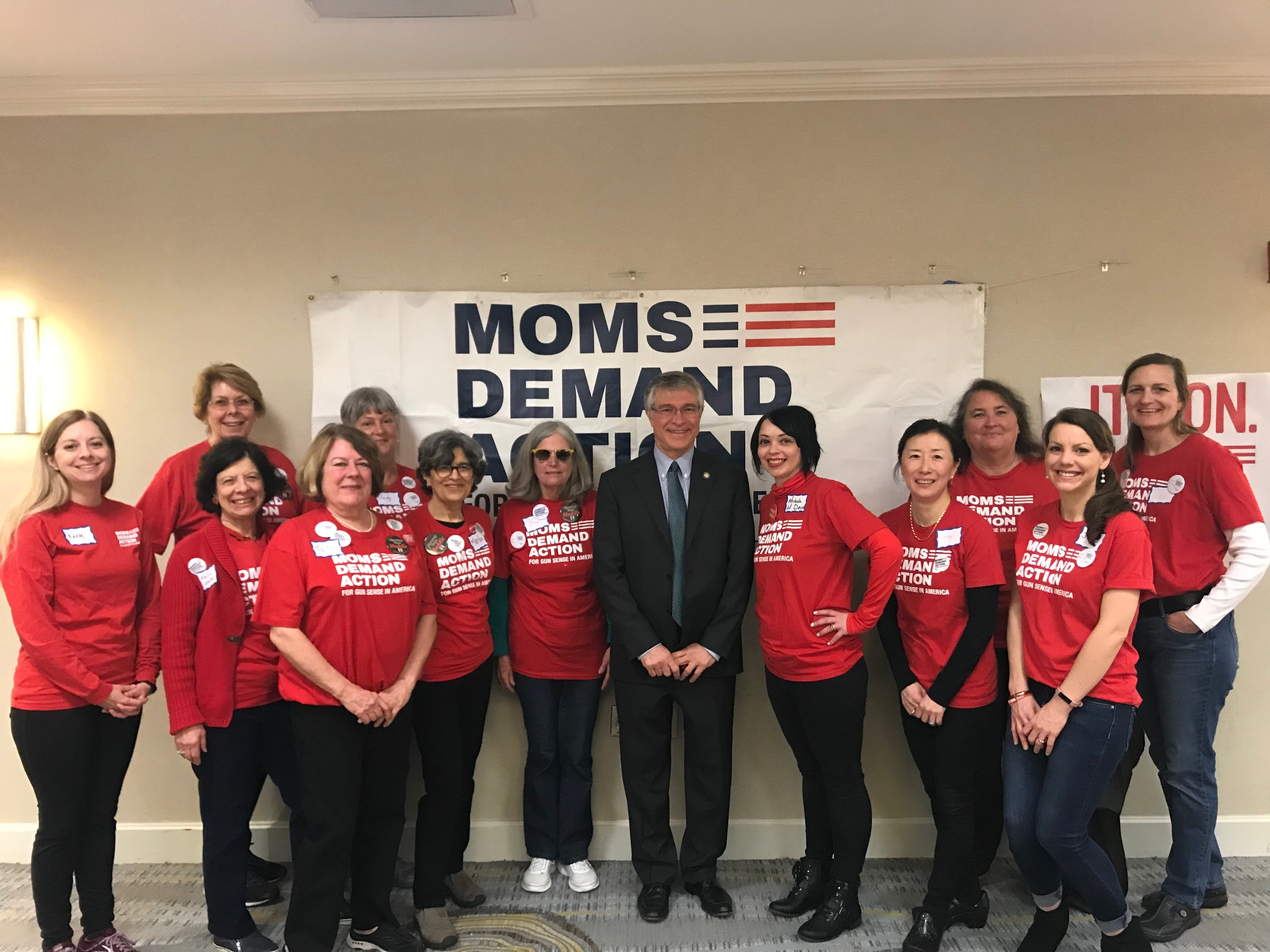Assemblymember Steck speaks with Moms Demand Action about gun control.