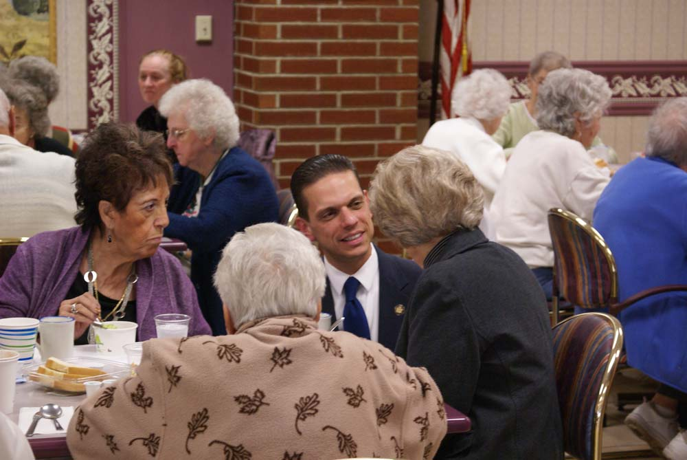 Assemblyman Angelo Santabarbara's visits the Club 60 meeting at St. Mary's Hospital in Amsterdam.