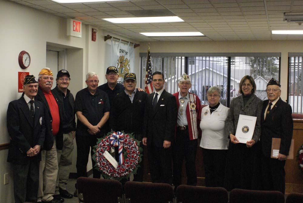 Assemblyman Angelo Santabarbara and Senator Cecilia Tkaczyk joining AmVets Post 35 at the Pearl Harbor Day Ceremony held at the Rotterdam Town Hall