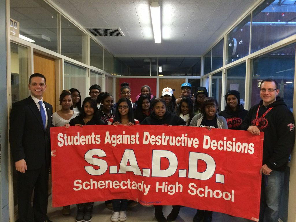 At the Students Against Destructive Decisions Meeting at Schenectady High School