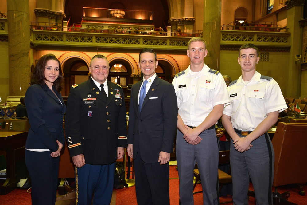 During the Assembly's annual West Point Day celebration, Assemblyman Angelo Santabarbara (center) met with, from left to right, Amy Amoroso, NYS Program Coordinator for Veteran Business Outreach, Small Business Development Center, University at Albany, Colonel Edward P. Naessens, Jr. and Cadets Gregory Larsen and Gerald McDonough of the Capital Region.