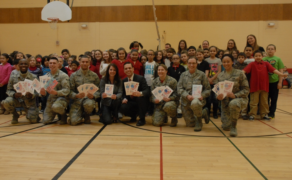 Assemblyman Angelo Santabarbara joined elementary school students from Amsterdam to present Valentines to members of the 109th Air National Guard. February 13, 2015